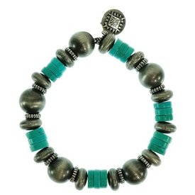 West & Co. Navajo Pearls with Turquoise Beads Bracelet
