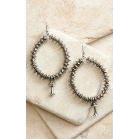 West & Co. Silver Disc Bead Teardrop Earrings