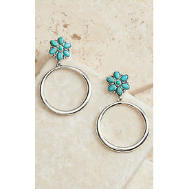 West & Co. Silver Hoop Earrings with Turquoise Flowers