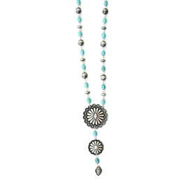 West & Co. Navajo Pearls with Turquoise Concho Necklace