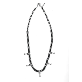 West & Co. Navajo Pearls with Silver Blossom Accents Necklace