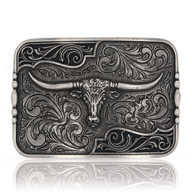 Montana Silversmiths Antiqued Longhorn Attitude Buckle