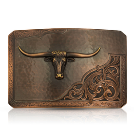 Montana Silversmiths Rough Out with Longhorn Buckle