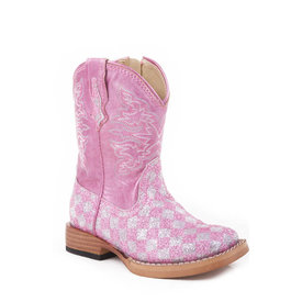 Roper Toddler's Pink and Silver Check Glitter Boot