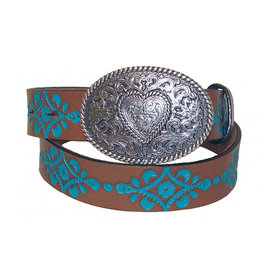Justin Girl's Brown and Turquoise Belt