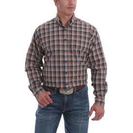 Cinch Men's Navy, Brown and Blue Plaid Button Down Shirt
