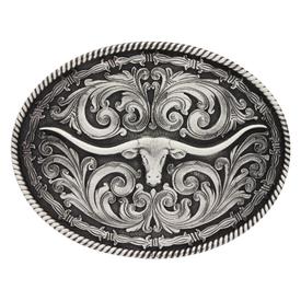 Montana Silversmiths Antique Silver Longhorn Attitude Buckle