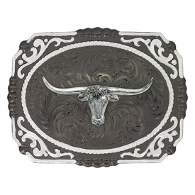 Montana Silversmiths Black and Silver Longhorn Buckle