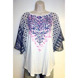 Vocal VOCAL WHITE TOP PINK CENTER 13074S Size Small C5