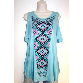 Vocal VOCAL TEAL/PINK OPEN SHOULDER