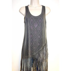 Vocal Women's Charcoal Fringed Tank Size Large