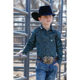 Cinch Boy's Black/Turquoise Paisley Long Sleeve Shirt