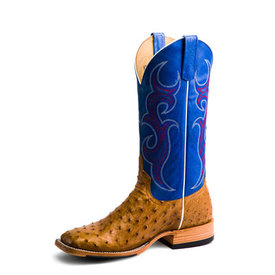 Horse Power Men's Antique Saddle Full Quill Ostrich Boot