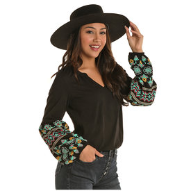 Rock and Roll Cowgirl Women's Black Embroidered Blouse