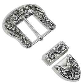 Montana Silversmiths 3 Piece Bright Cut Buckle Set