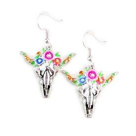 Wyo-Horse Floral Steer Skull Earrings