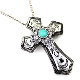 Wyo-Horse Antique Black and Silver Cross Necklace