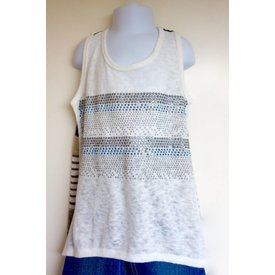 Vocal VOCAL WHITE TANK STRIPED BACK MULTI 13935