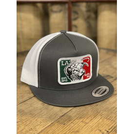 Lazy J Ranch Wear Grey Mexican Flag Cow Cap