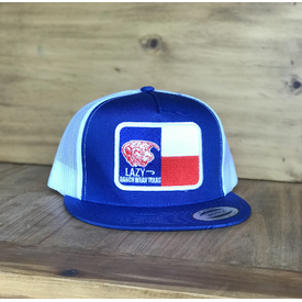 Lazy J Ranch Wear Blue and White Texas Elevation Cow Cap