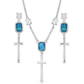 Montana Silversmiths Cross Opal Dangle Jewelry Set