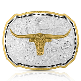 Montana Silversmiths Right Cut Rope Longhorn Buckle