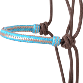 Classic Equine Rope Halter w Turquoise/Gold Rawhide Noseband