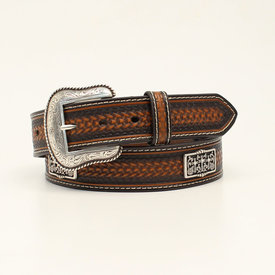 Nocona Belt Co. Men's Dark Brown Embossed Belt