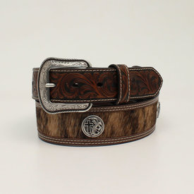 3D Belt Co Men's Brown Leather Belt with Calf Hair