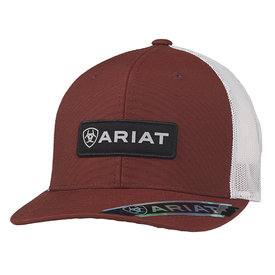 Ariat Men's Red Cap with Rectangle Logo Patch