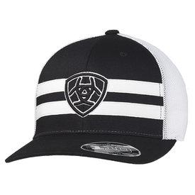 Ariat Men's Black Shield Logo Cap with White Stripes