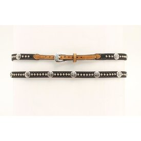 M&F Western Black and Tan Hatband with Conchos and Studs
