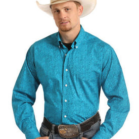 Panhandle Men's Turquoise Paisley Button Down Shirt C3 XL