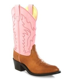 Old West Children's Tan and Pink Western Boot C3 Size 9.5