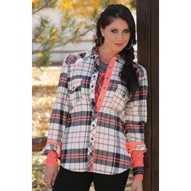 Cruel Girl Women's Plaid Snap Long Sleeve