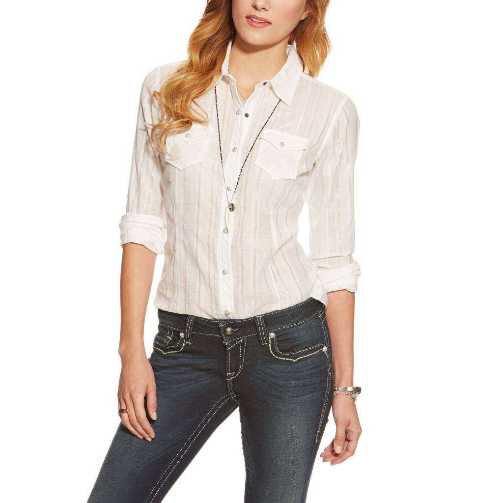 b7a2ba220a7 ... Red and White Theresa Cold Shoulder Top – Western Edge ... Ariat  Women's Ariat Alice Snap Front Shirt 10015919 - Corral Western ... ariat  women's