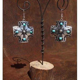 West & Co. Silver Etched Cross Earrings