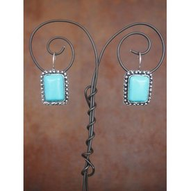 West & Co. WEST & CO. RECTANGLE TURQ EARRING E381