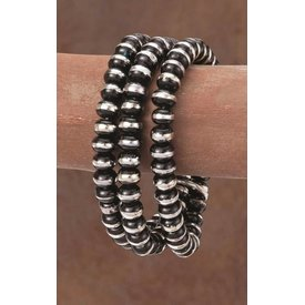 West & Co. Black and Silver Rondell Bracelet