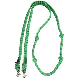 "Martin MARTIN 1"" BRAIDED BARREL REINS GREEN/GREY BR1BNK16GRGY"