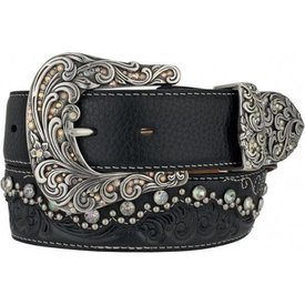 Tony Lama Women's Kaitlyn Black Crystal Studded Belt
