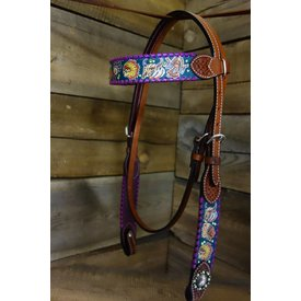 Rafter T Teal Tribal Print Browband Headstall BB3572