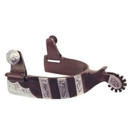 American Heritage Equine Brown Engraved Silver Spurs 260-320