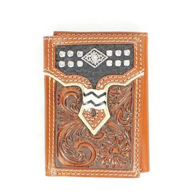 Nocona Belt Co. Men's Floral Tooled Concho Bi-Fold Wallet