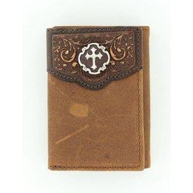 Nocona Belt Co. Men's Cross Concho Tri-Fold Wallet