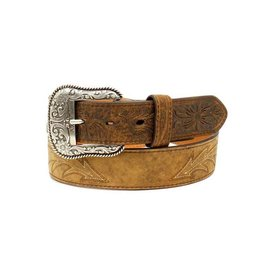 Ariat Men's Distressed Leather Floral Embossed Belt