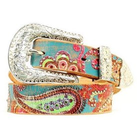 Nocona Belt Co. Women's Painted Paisley Belt Size XL