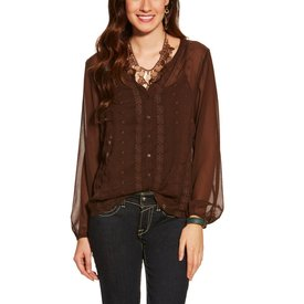 Ariat Women's Lilly Brown Sheer Blouse