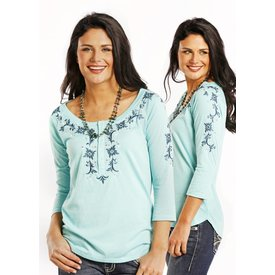 Panhandle Women's Turquoise/Navy Floral 3/4 Sleeve Blouse