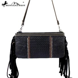 Montana West Black Fringed Leather Clutch